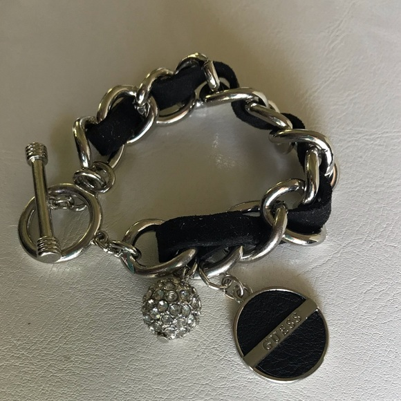 Guess Silver Black Leather Bracelet